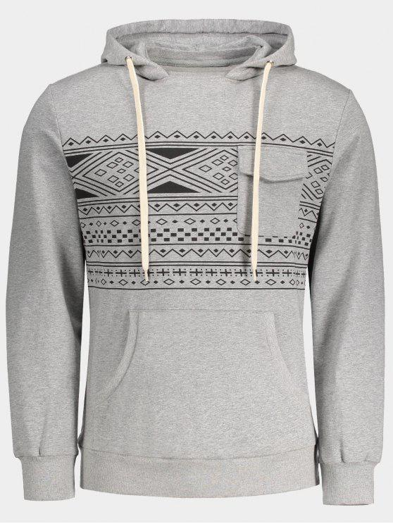 ladies Chest Pocket Tribal Print Pullover Hoodie - GRAY M