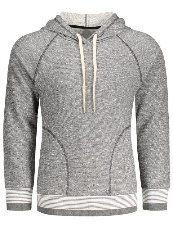 hot Stripe Hem Raglan Sleeve Hoodie - GRAY XL