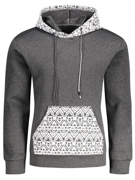 Kangaroo Pocket Tribal Print Pullover Hoodie - Gris M