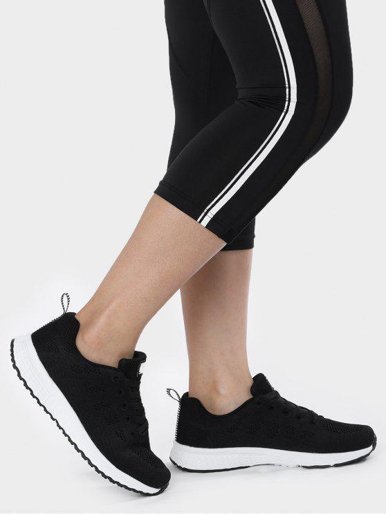 Zapatos deportivos transpirables de la malla del bordado del ojeteador - Negro 38