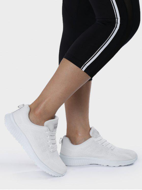 women Eyelet Embroidery Mesh Breathable Athletic Shoes - WHITE 38