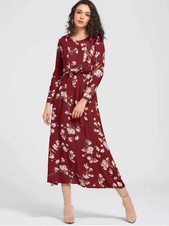 فستان طويلة الأكمام زر مصغر زهري ماكسي - نبيذ أحمر S