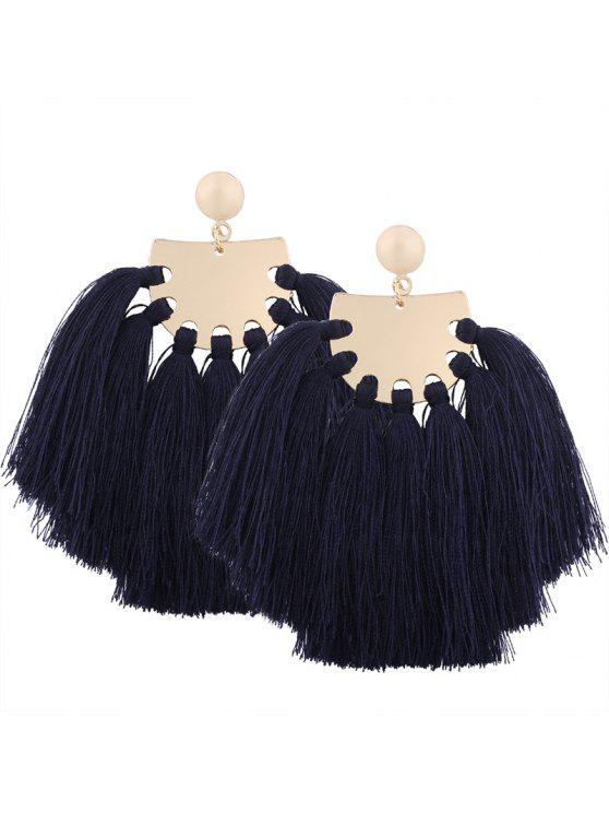 online Statement Geometric Tassel Earrings - NAVY BLUE