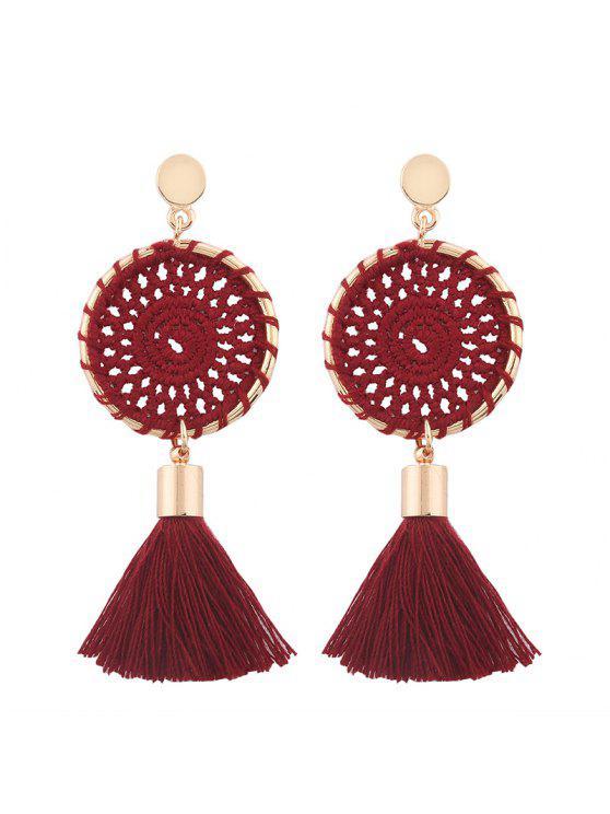 Crochet Floral Tassel Drop Earrings - Rouge