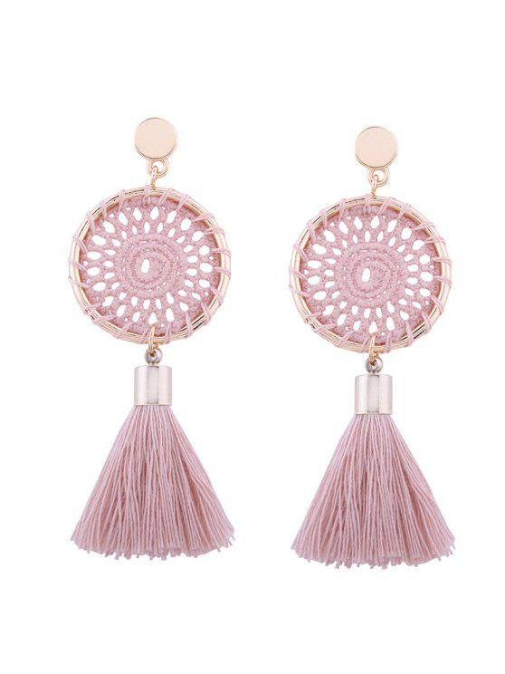 Pendientes de gota de borla floral de ganchillo - Rosa