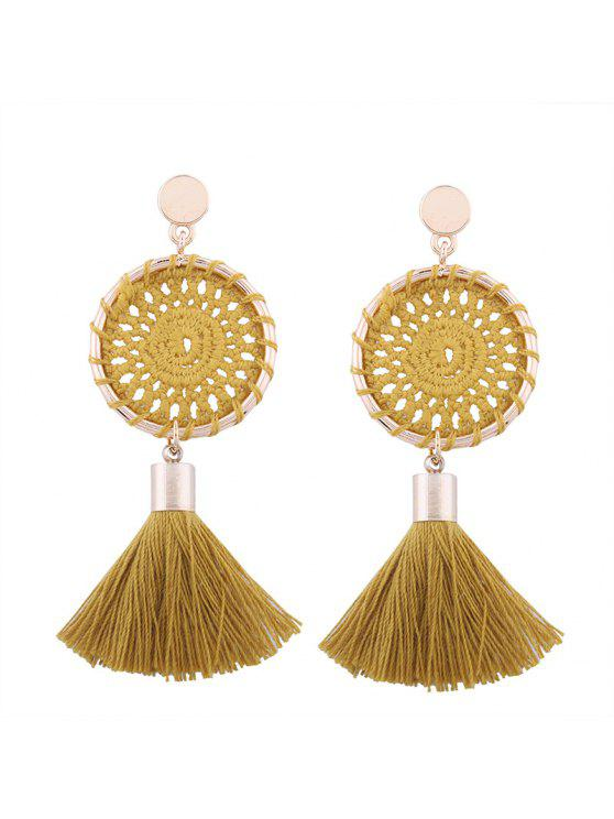 unique Crochet Floral Tassel Drop Earrings - GINGER