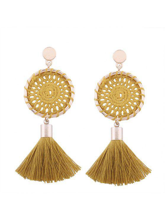 Crochet Floral Tassel Drop Earrings - Curcumae