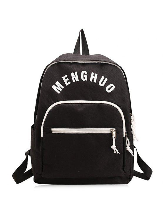 unique Letter Printed Nylon Backpack - BLACK