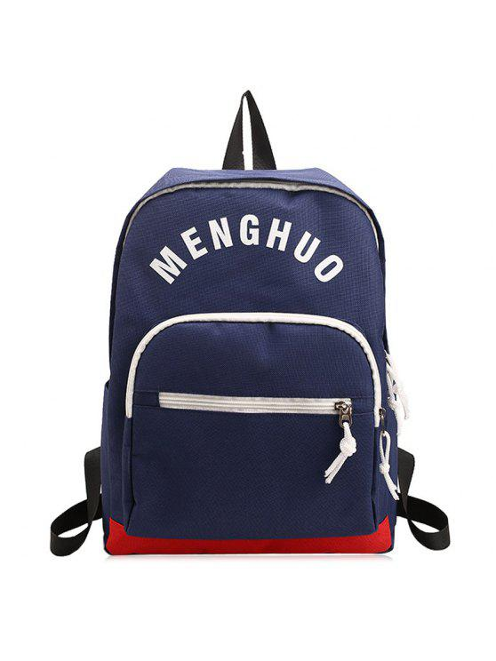 sale Letter Printed Nylon Backpack - DEEP BLUE