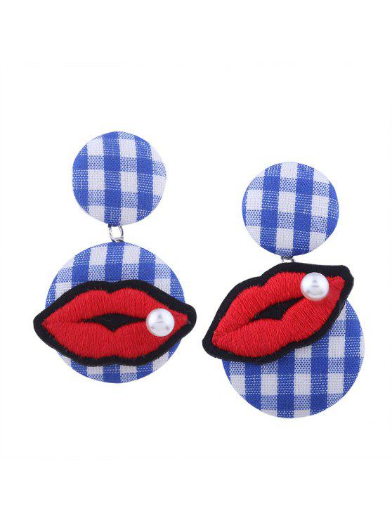 Faux Pearl Lips Embroidery Plaid Earrings - Azul