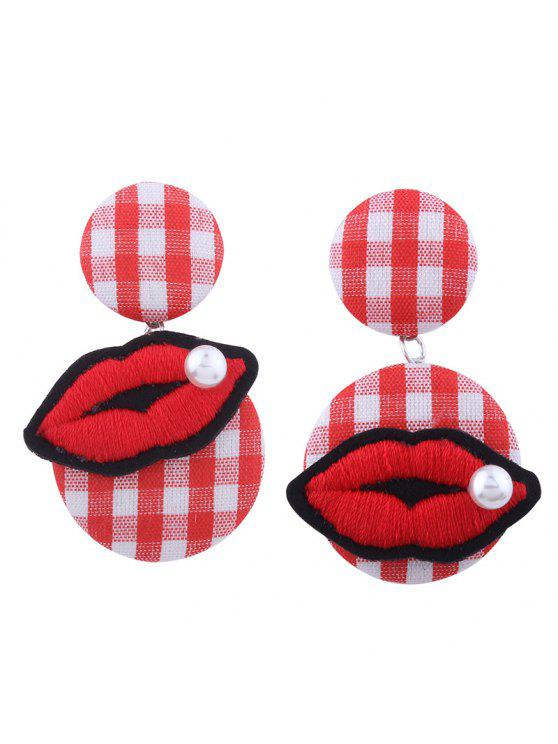 outfits Faux Pearl Lips Embroidery Plaid Earrings - RED