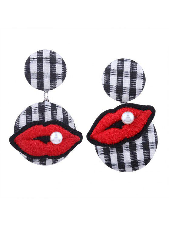 outfit Faux Pearl Lips Embroidery Plaid Earrings - BLACK