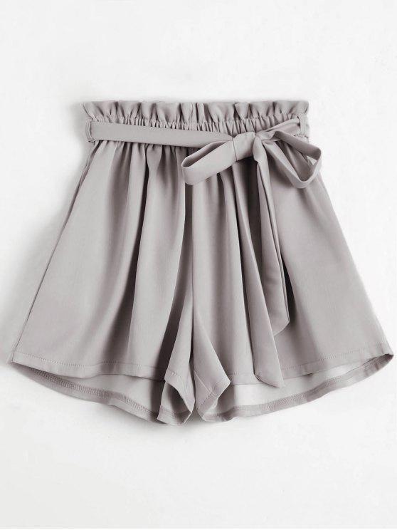 Short Taille Haute Smocké à Ceinture - Gris Clair Taille Unique