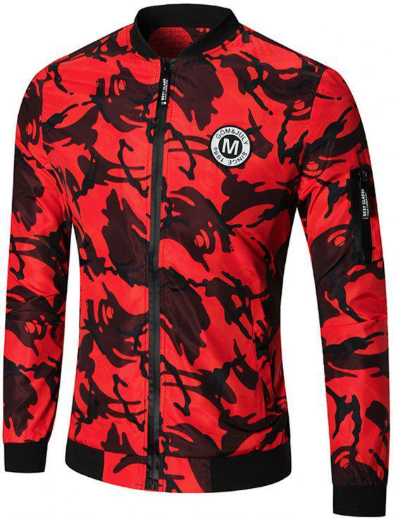 جاكيت الطيار كامو بسحاب تصميم رقعة قماشية - أحمر M