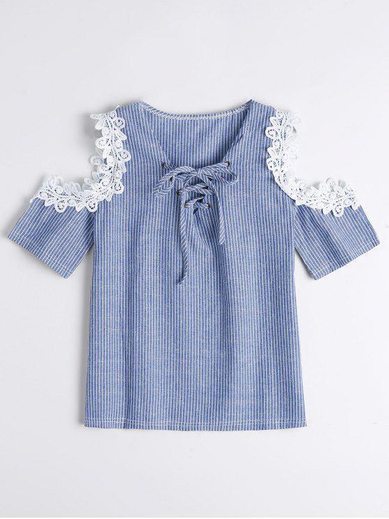 shop Lace Up Cold Shoulder Striped Blouse - BLUE ONE SIZE