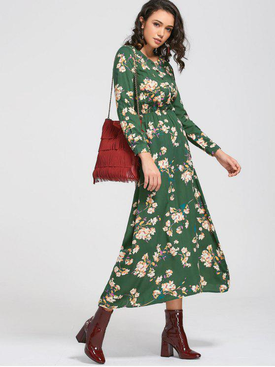 فستان طويلة الأكمام زر مصغر زهري ماكسي - أخضر L