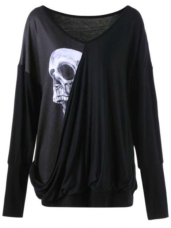 online Skull Print Plus Size Drape Tee - BLACK 4XL