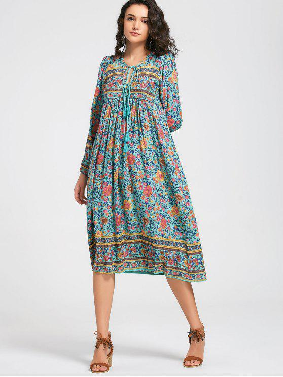 lady Long Sleeve Floral Tassels Midi Dress - FLORAL S