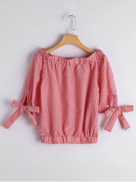 latest Off The Shoulder Checked Blouse - CHECKED M
