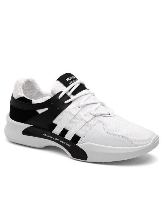 سويد إدراج شبكة تنفس أحذية رياضية - أسود أبيض 43