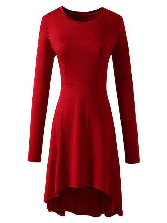 فستان طويلة الأكمام عالية انخفاض - أحمر XL
