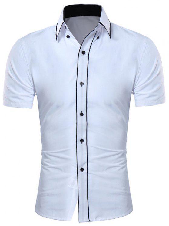 قميص زر أسفل طوق التباين تريم - أبيض XL