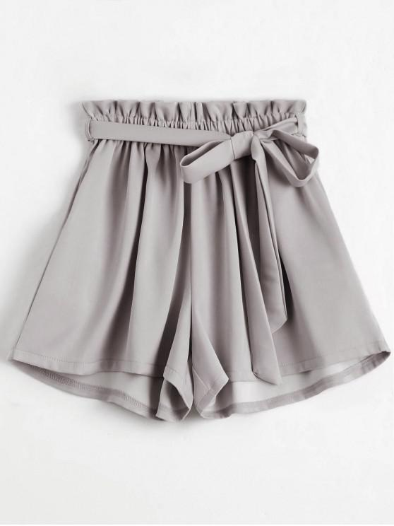 shop Smocked Belted High Waisted Shorts - LIGHT GRAY ONE SIZE