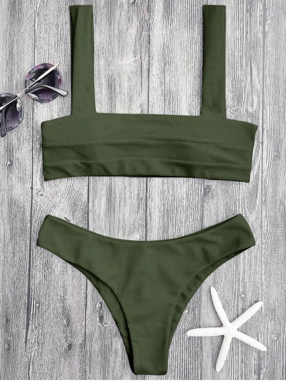 fancy Bandeau Padded Bikini Top and Bottoms - GREEN S