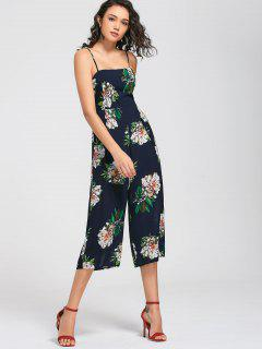 Floral Print Cami Jumpsuit - Purplish Blue L