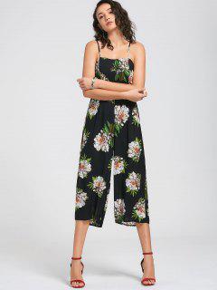 Floral Print Cami Jumpsuit - Black M