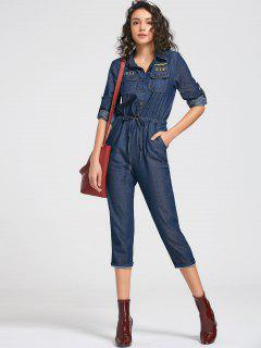 Drawstring Patched Pocket Denim Jumpsuit - Deep Blue M