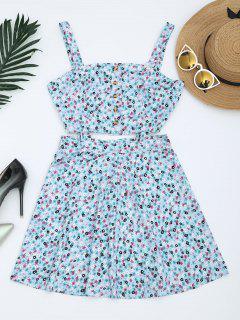 Cut Out Mini Kleid Mit Blumendruck Und  Halben Knöpfe  - Helles Blau M