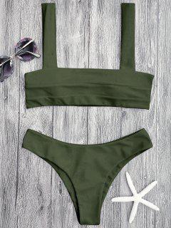 Bandeau Padded Bikini Top And Bottoms - Green L