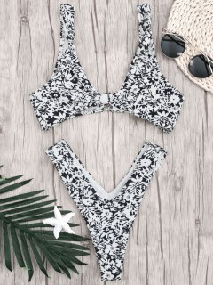 Printed Bralette Thong Bathing Suit - White And Black S