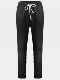 Slim Fit Drawstring Mens Twill Pants - Black L