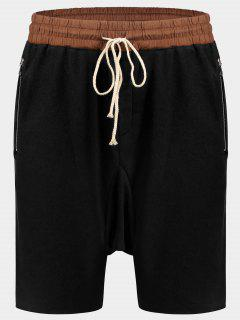 Zip Pockets Jogger Terry Sweat Shorts - Black L