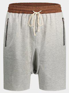 Zip Pockets Jogger Terry Sweat Shorts - Gris M