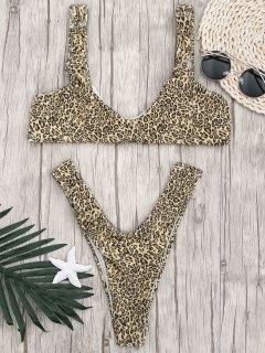 Traje De Baño De Tanga Con Estampado De Leopardo Anudado - Leopardo S