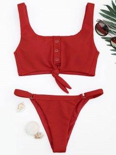 Verstellbarer Texturierter Knoten Bralette Bikini Set - Rot L
