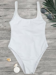 High Cut Textured Scoop One Piece Badeanzug - Weiß S