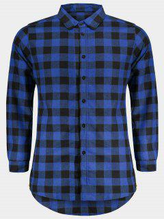 Mens Casual Checked Shirt - Blue M