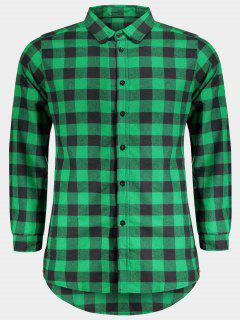 Mens Casual Checked Shirt - Green Xl