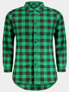 Mens Casual Checked Shirt - Green L