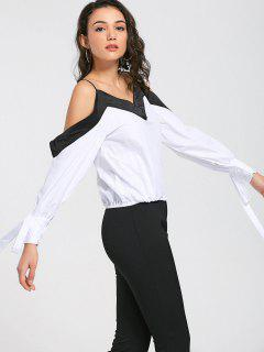 Two Tone Cold Shoulder Top - White And Black S