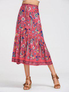 Floral Half Buttoned A Line Skirt - Floral L