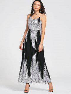 Smocked Back Tropical Maxi Dress - White And Black L