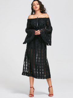 See Thru Off Shoulder Maxi Dress - Black S