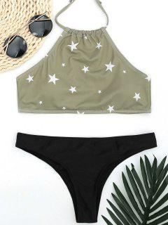 High Neck Pentagram Print Thong Bikini - Light Green M