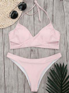 Halter Crossover High Cut Bikini - Pink M