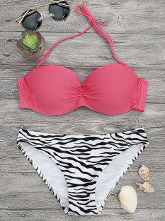 Zebra Print Underwire Push Up Bikini Set - Pink/zebra L